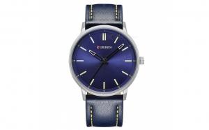Ceas barbatesc Curren 8233 - JW863 - 4, curea albastra din piele ecologica