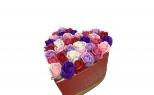Trandafiri din sapun parfumati - inimioara 25 cm, i2-01