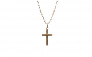 Lant cu crucifix din aur galben 18K