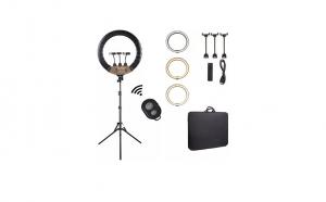 Lampa circulara Ring Light diametru 56cm/22inch 3 moduri de lumina 10 trepte reglaj telecomanda selfie trepied, 210 cm