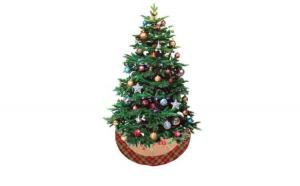 Covoras baza pom Craciun Merry Christmas bej cu carouri 1m