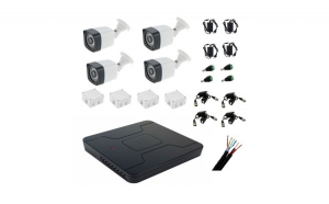 KIT supraveghere video 4 camere, exterior full hd 30 m IR, DVR 4 canale, accesorii incluse.