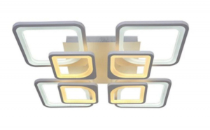 Lustra LED  Quadro 4+4, 2 X 108W, controlabila cu telecomanda - lumina calda, neutra rece