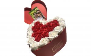 Trandafiri din sapun parfumati - inimioara 25 cm, i2-05
