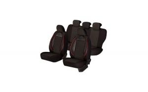 Huse scaune auto FIAT PANDA  2000-2010  dAL Racing Negru,Piele ecologica + Textil