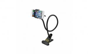 Suport telefon pentru birou cu brat flexibil de 60 cm, negru