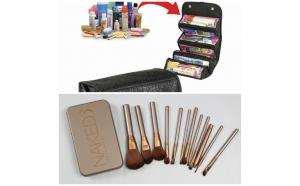 Organizator cosmetice tip geanta + Set 12 pensule machiaj Naked 3, la doar 79 RON in loc de 219 RON