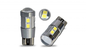 Bec T10 10 led-uri SMD 5630 cu lupa in varfa  12v CanBus gama premium - bec pozitie sau numar fara eroare de bec ars