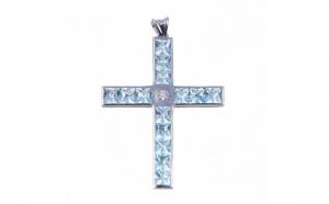 Crucifix din aur alb 14K cu topaz si diamant, PAU97
