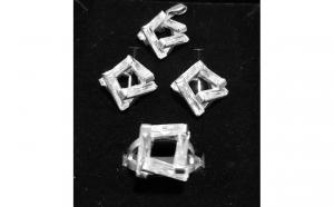 Set bijuterii 4 piese din Argint 925, model geometric - decorat cu baghete din zirconiu transparent