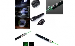 Laser colorat verde + Lanterna Profesionala Led Cree, cu zoom cu lupa, rezistenta apa, reincarcabila, totul cu doar 59 RON in loc de 74 RON
