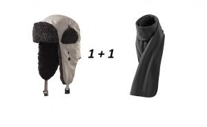 Set caciula de iarna + fular din fleece culoare gri