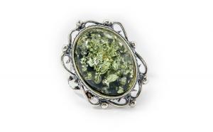 Inel dama argint 925 cu chihlimbar Green Amber