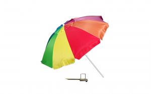 Umbrela plaja antivant, multicolor, diametru 220 cm + suport umbrela metalic