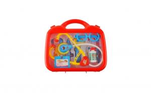 Trusa interactiva de joaca pentru copii - Doctor cu stetoscop, ochelari, seringa