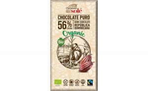 Ciocolata neagra BIO 56% cacao, 100 g Chocolates Sole