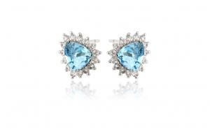 Cercei cristale Zwarovski albastre, placati cu rodiu