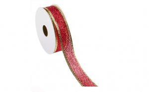 Panglica decorativa Pom de Craciun Red Glitter Gold 5 m x 21 mm