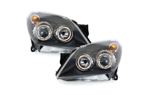 Set 2 faruri, compatibil cu OPEL Astra H (2004-2009) Pozitie Angel eyes, negru