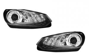 Set 2 faruri Dayline compatibil cu VW Golf VI 08+, Negru, LED DRL Design