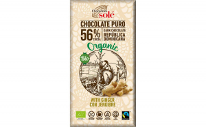 Ciocolata neagra BIO cu ghimbir, 56%