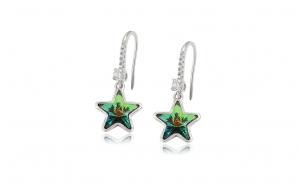 Cercei Green Star, cu cristale Zwarovski, placati cu rodiu
