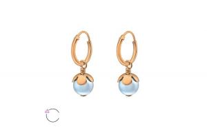 Cercei argint placat cu aur roz 14K, Perla cu cristale Swarovski Light Blue, A4S37119