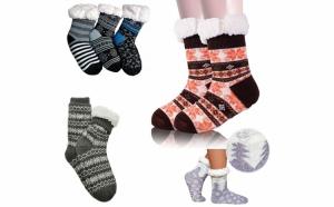2 x Ciorapi botosei, cu interior Imblanit, pentru femei si barbati - Model Winter Season