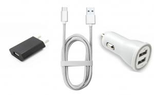 Cablu USB-Micro 2 metri + Alimentator priza + Incarcator USB dublu