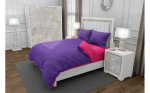 Lenjerie de pat matrimonial cu husa de perna patrata, Duo Purple, bumbac satinat, gramaj tesatura 120 g mp, Mov Fucsia, 4 piese