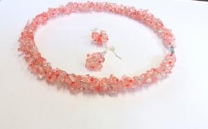 Colier si cercei din cristale semipretioase de cuart roz Cherry- piatra iubirii neconditionate, la doar 120 RON in loc de 240 RON