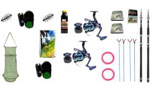 Set 2 x  lansete telescopice 3.0m cu mulinete si accesorii pescuit sportiv S2