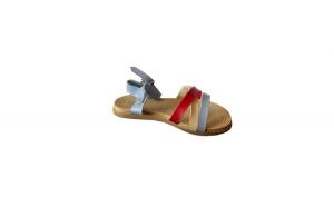Sandale cu talpa joasa, EHA, pentru dama, culoare albastru cu rosu
