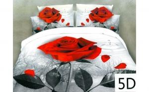 Lenjerie de pat 3D pentru 2 persoane, cu 4 piese din bumbac satinat (model pid-10)