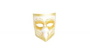 Masca carnaval venetian, auriu/alb