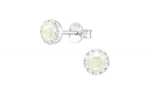 Cercei argint, Rotund cu cristale Swarovski White Opal, A4S39026