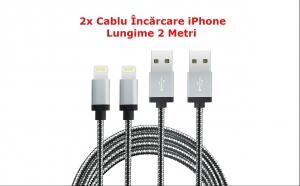 2x Cablu Incarcare iPhone/iPad (Lightning 8pin) cu Lungime 2 Metri, la doar 77 RON in loc de 298 RON
