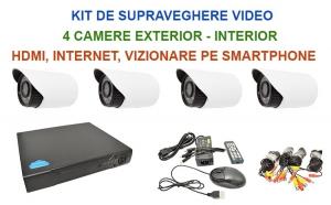 Sistem de supraveghere cu 4 camere IR de exterior/interior, 1200 TVL, internet si vizionare pe Smartphone