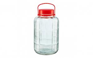 Borcan de sticla cu capac plastic, 16 L