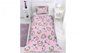 Lenjerie de pat copii Unicorni, Dimensiune 160 x 200, Bumbac