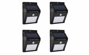 Set de patru lampi solare 30 de leduri cu senzor de miscare si de lumina