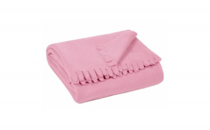 Patura Fleece roz cu franjuri mari