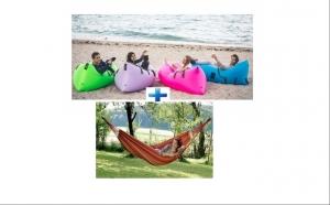 Canapea - saltea gonflabila ideala pentru iesirile in aer liber + Hamac multicolor pentru relaxare