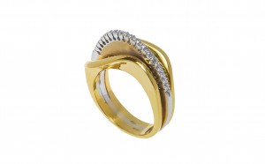 Inel din aur 18K, alb si galben, diamant