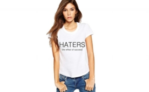 Tricou dama alb -  HATERS
