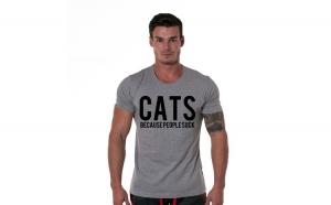 Tricou gri barbati - Cats