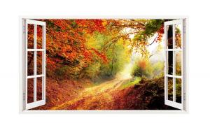 Sticker decorativ, Fereastra 3D, Toamna, 85 cm, 213STK