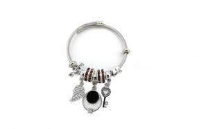 Bratara tip Pandora, cu ineluse cu pietre grena