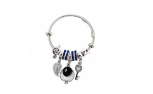 Bratara tip Pandora, cu ineluse cu pietre albastre
