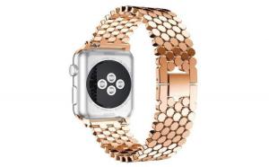 Curea Apple Watch, Zale Hexagonale, Compatibil Watch 1/2/3/4, 40mm, Rose-Gold